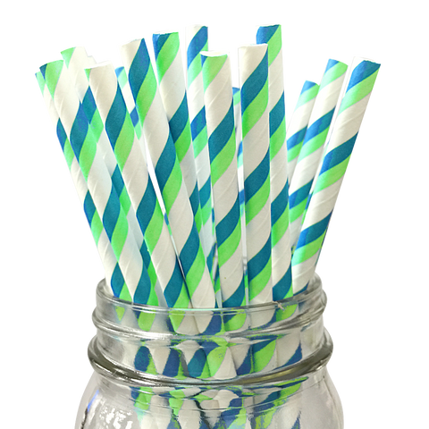 Lime Green and Turquoise Striped 25pc Paper Straws