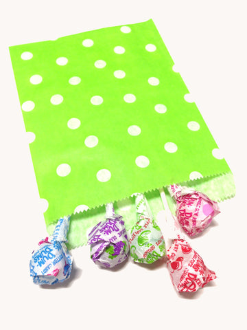 Lime Green Polka Dots 20pc Paper Favor Bags.