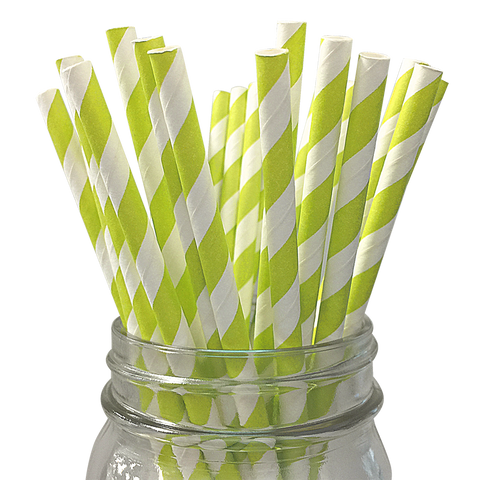 Lime Green Striped 25pc Paper Straws