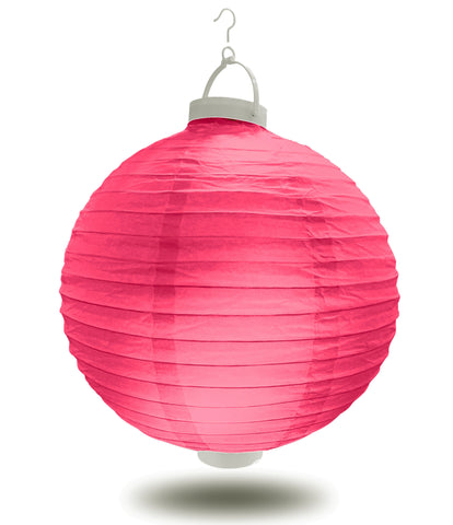 "8"" Magenta Battery Operated LED Paper Lanterns."
