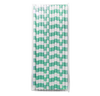 Mint Rugby Striped 25pc Paper Straws