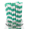 Mint Rugby Striped 25pc Paper Straws.