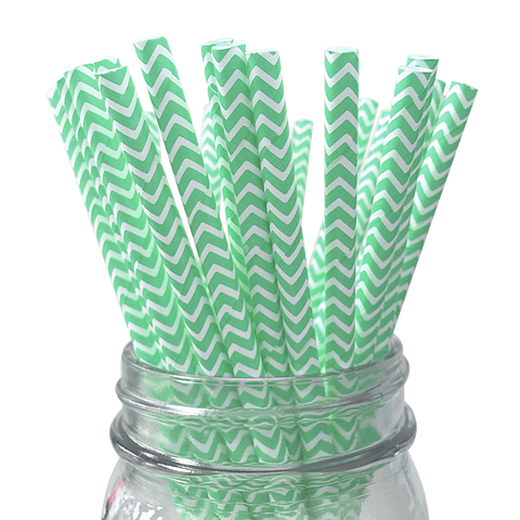 Mint Chevron Striped 25pc Paper Straws.