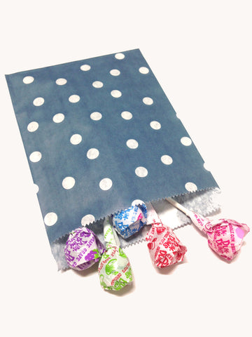 Navy Blue Polka Dots 20pc Paper Bags
