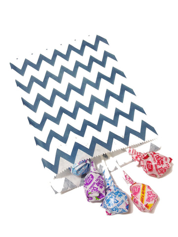 Navy Blue Chevron 20pc Paper Favor Bags.