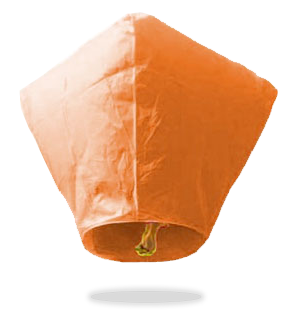 ECO Orange Diamond Sky Lanterns (Wire-Free)