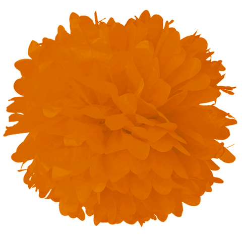 "16"" Orange Tissue Pom Poms."
