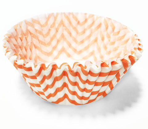 Orange Chevron 25pc Cupcake Liners
