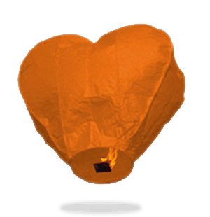 Orange Heart Sky Lanterns