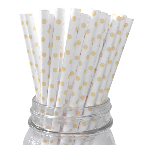 Peach Polka Dot 25pc Paper Straws.