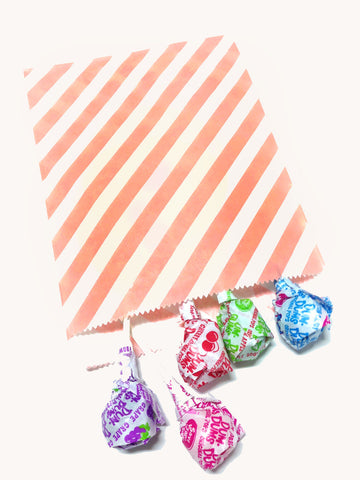 Light Pink Striped 20pc Paper Favor Bags.