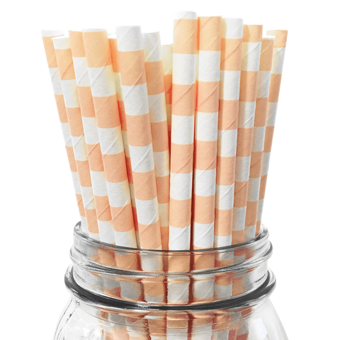 Peach Rugby Striped 25pc Paper Straws.