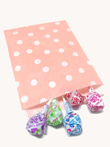 Light Pink Polka Dots 20pc Paper Favor Bags.