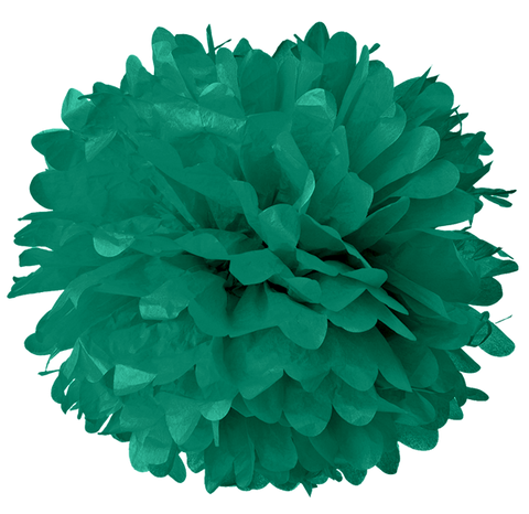 "6"" Peacock Green Tissue Pom Poms."