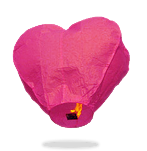 ECO Pink Heart Sky Lanterns (Wire-Free)