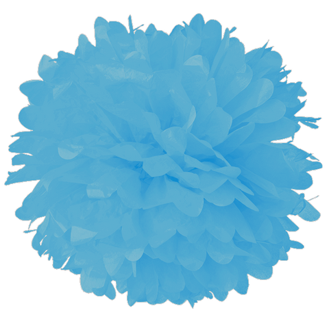 "14"" Powder Blue Tissue Pom Poms."