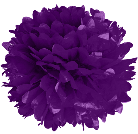 "10"" Purple Tissue Pom Poms."