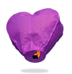 ECO Purple Heart Sky Lanterns (Wire-Free)