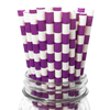 Purple Rugby Striped 25pc Paper Straws