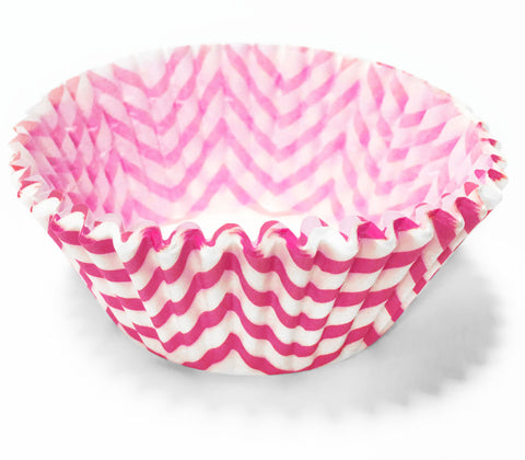 Raspberry Chevron 25pc Cupcake Liners
