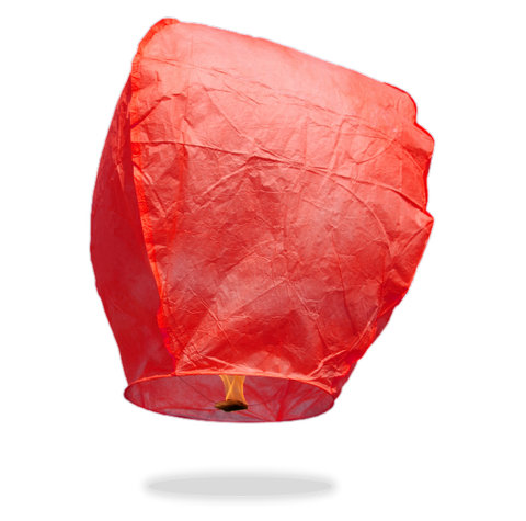 ECO Red Eclipse Sky Lanterns (Wire-Free)
