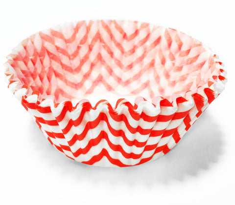 Red Chevron 25pc Cupcake Liners