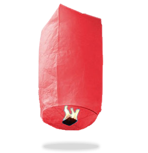 ECO Red Cylinder Sky Lanterns (Wire-Free)