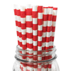 Red Rugby Striped 25pc Paper Straws.