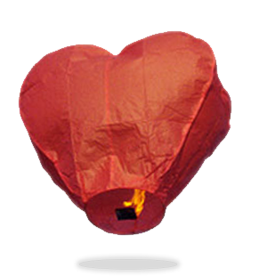 Red Heart Sky Lanterns