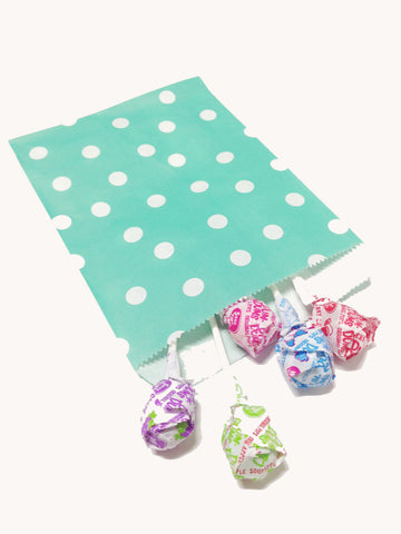 Sea Green Polka Dots 20pc Paper Bags