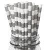 Silver Rugby Striped 25pc Paper Straws
