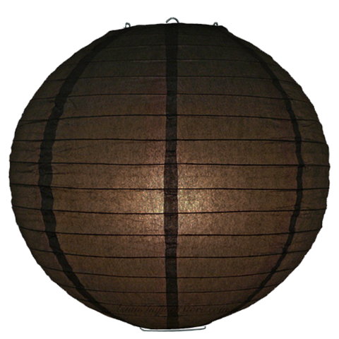 Slate Brown Ribbed Paper Lanterns