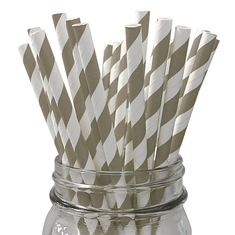 Taupe Striped 25pc Paper Straws.