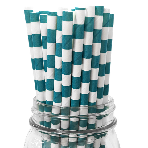 Turquoise Rugby Striped 25pc Paper Straws