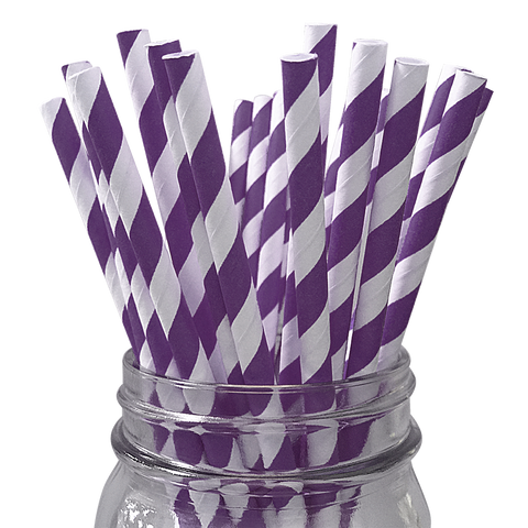 Violet Striped 25pc Paper Straws.
