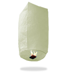 ECO White Cylinder Sky Lanterns (Wire-Free)