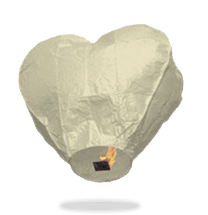White Heart Sky Lanterns