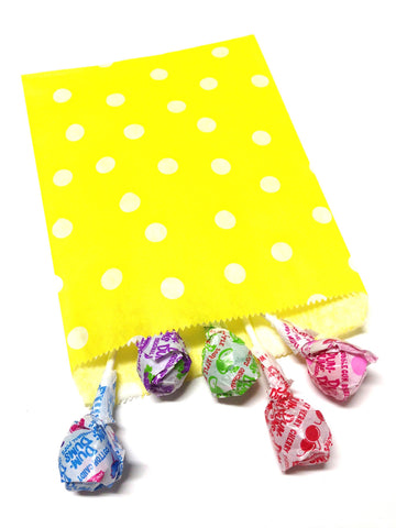 Yellow Polka Dots 20pc Paper Favor Bags.