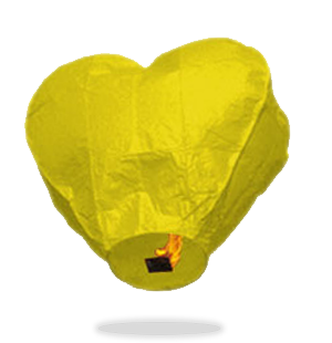 ECO Yellow Heart Sky Lanterns (Wire-Free)