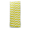 Yellow Rugby Striped 25pc Paper Straws