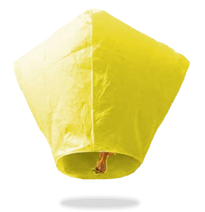 ECO Yellow Diamond Sky Lanterns (Wire-Free)