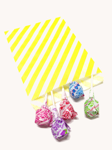 Yellow Striped 20pc Paper Bags