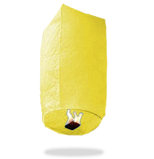 ECO Yellow Cylinder Sky Lanterns (Wire-Free)