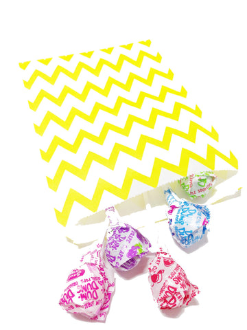 Yellow Chevron 20pc Paper Favor Bags.