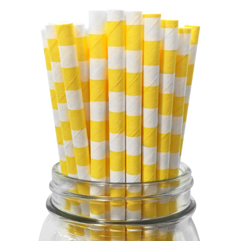 Yellow Rugby Striped 25pc Paper Straws.