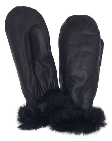 Raber Women's Fashion Fur Trim Mitts
