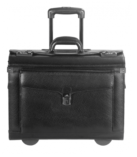 "Mancini Leather Wheeled 17"" Computer Deluxe Catalogue Case"
