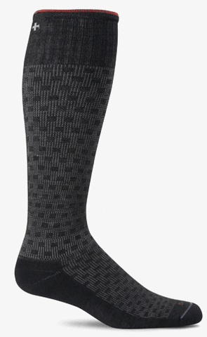 Sockwell Men's Shadow Box Graduated Compression Sock Black