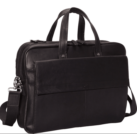 Mancini Colombian Leather Double Compartment Laptop Briefcase