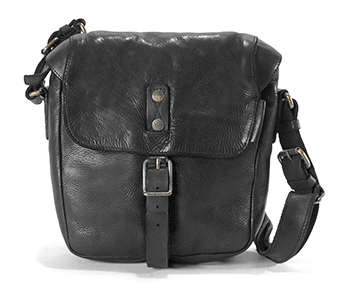 Aunts & Uncles Goatee Leather Shoulder Bag Raven